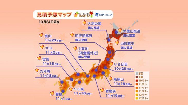 2019年全日本各地红叶预测全攻略(加映:银杏黄叶情报)